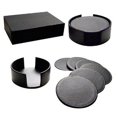 LMLT-9911 PU Leather 6pc Coaster Set